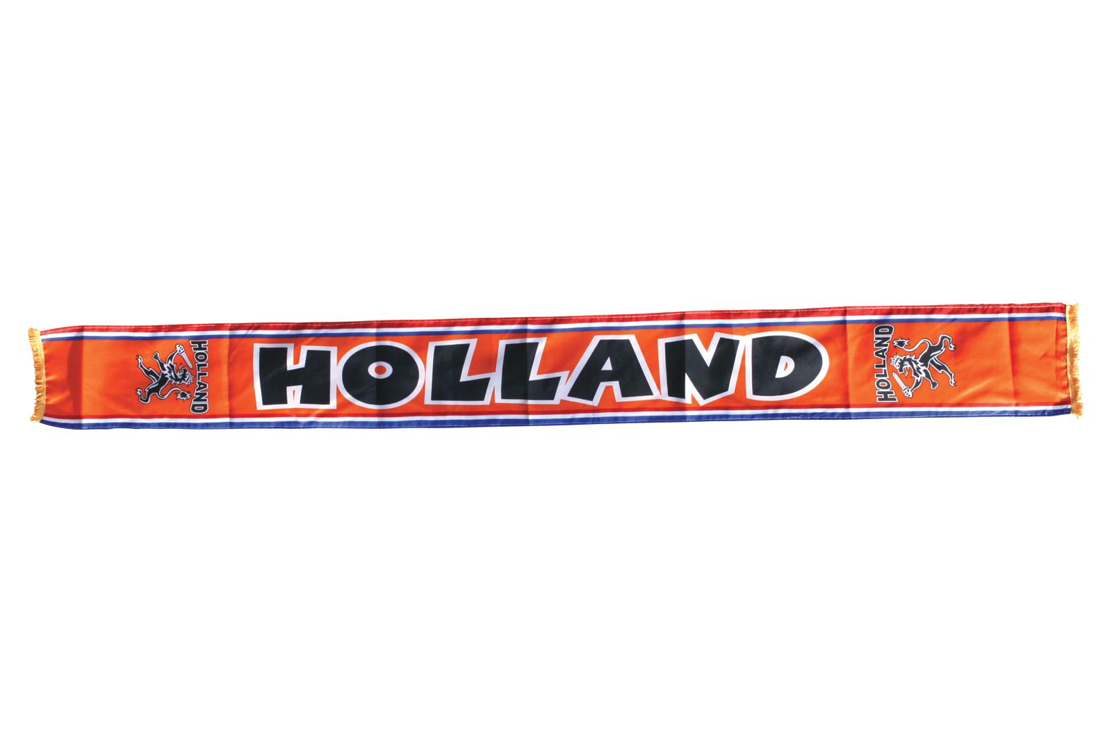 Oranje sjaal met 'Holland' erop.