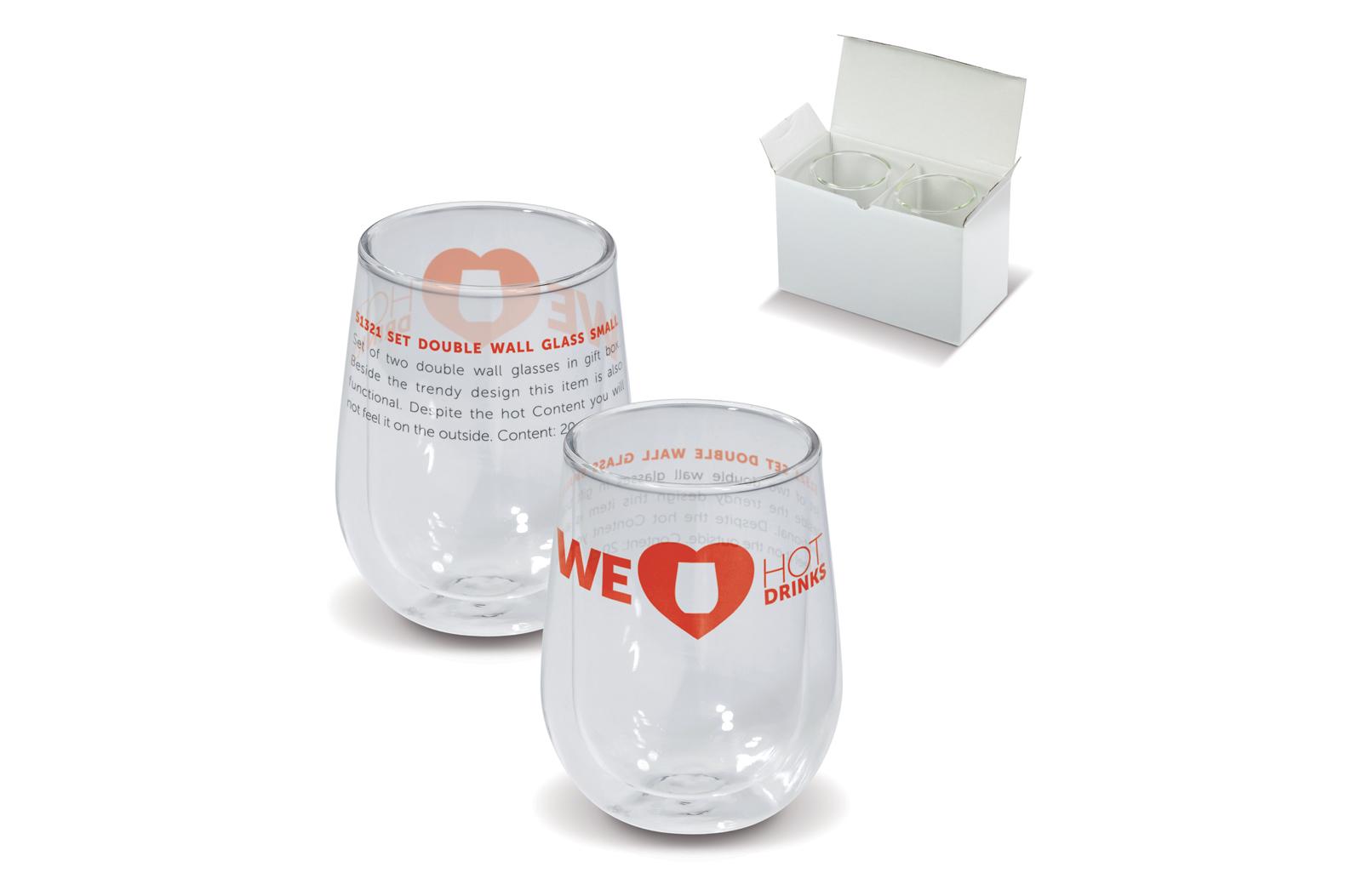 Set van twee dubbelwandige glazen in geschenkverpakking. Naast het trendy design is het ook functioneel. Ondanks de warme inhoud voelt u dit niet aan de buitenzijde.