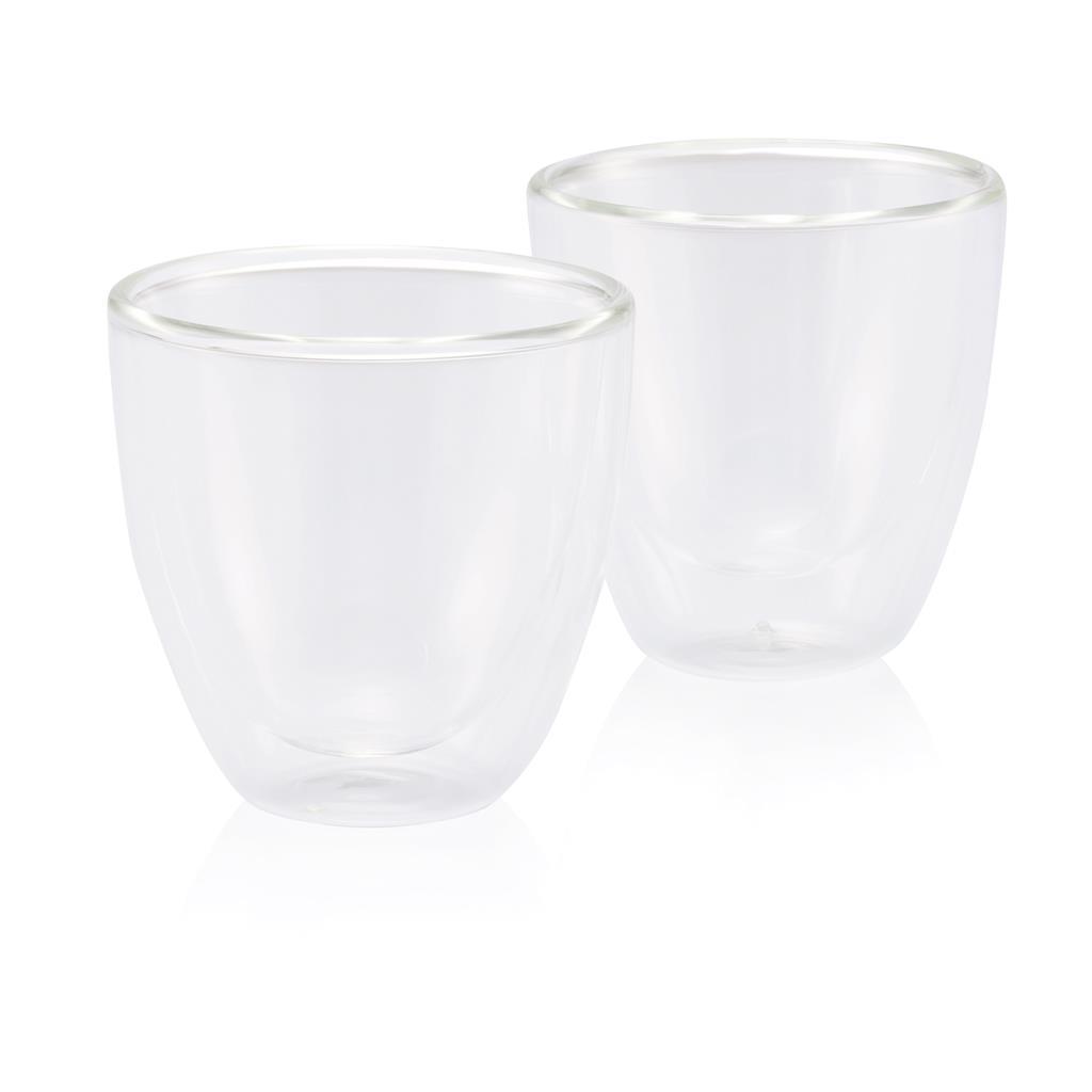 Set van twee glazen dubbelwandige koffiebekers. Inhoud 180ml