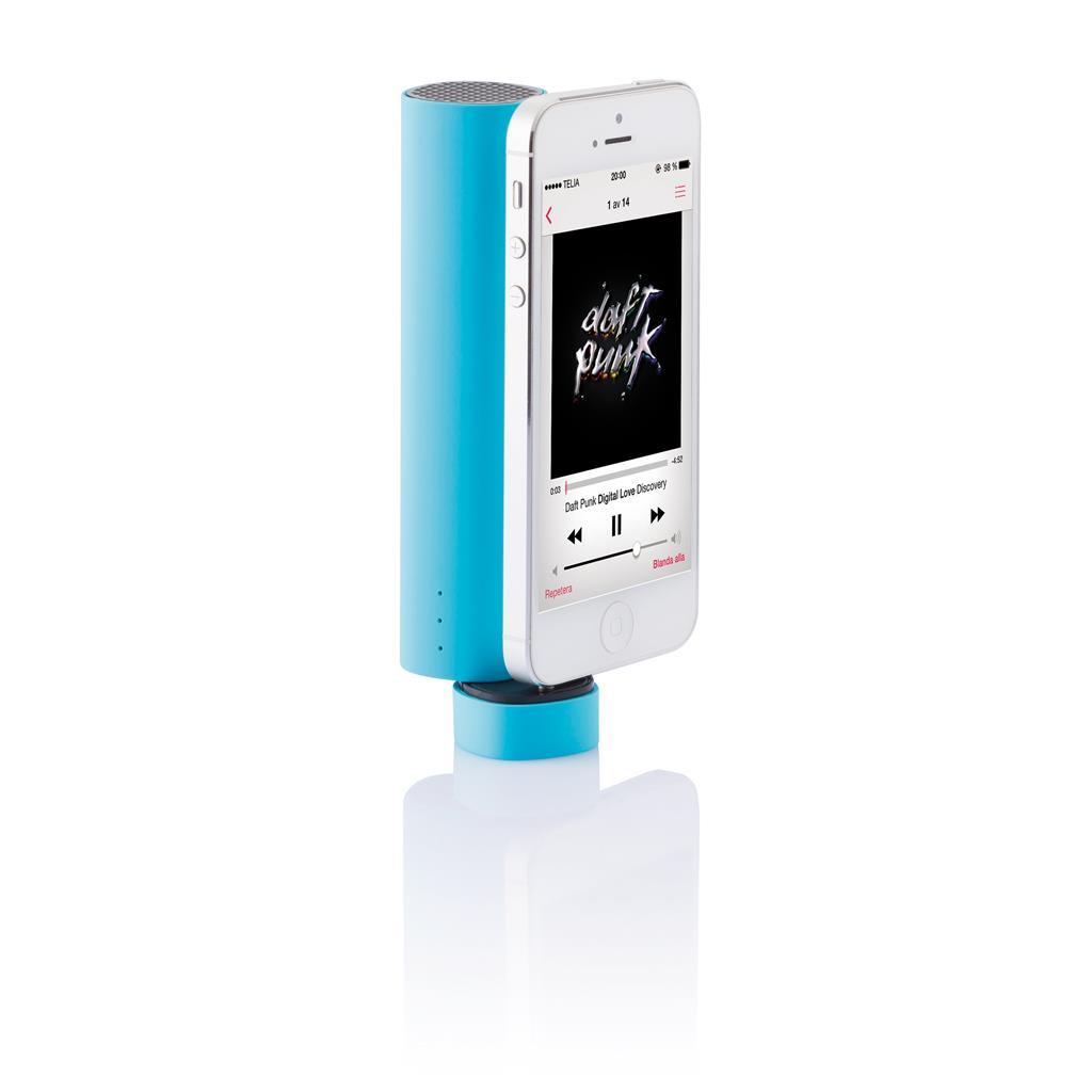 2W speaker die ook als steun voor uw telefoon dient bij het kijken naar een filmpje of muziekvideo. Gevoed door een 3500mAh lithium batterij met een output van 1A kan de speaker ook gelijktijdig gebruikt worden om uw mobiele apparaat op te laden.