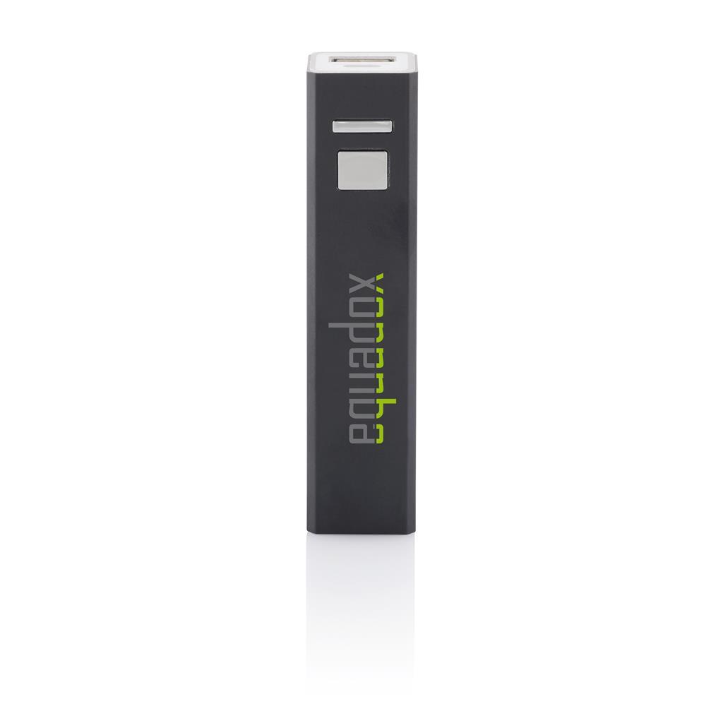 Compacte 2200mAh lithium batterij in lichtgewicht aluminium huls. De USB output met 5V/1A is geschikt voor iedere mobiele telefoon.