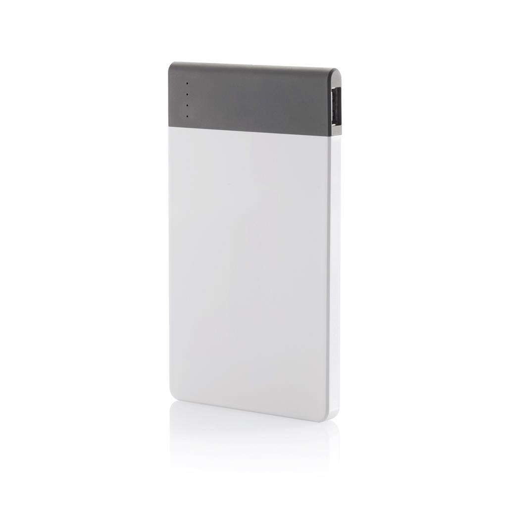 4600 mAH ultradunne powerbank met hoge kwaliteit lithium polymeer batterij. Inclusief aan/uit knop en batterij capaciteit indicator. Output 5V/2.1A
