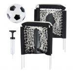 Compact voetbalspel set met 2 goals en een pomp voor de bal. Ideaal voor op vakantie of aan het strand.