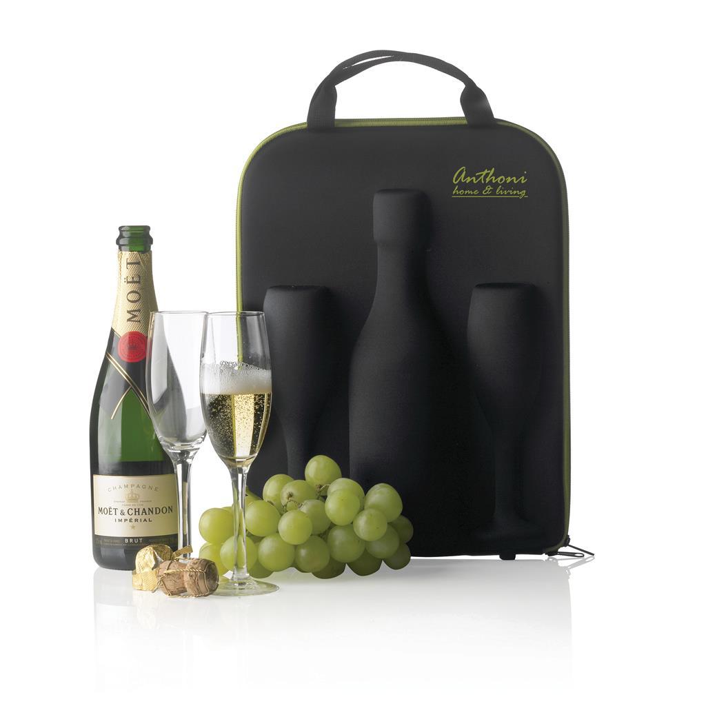 Flute is een luxueuze tas gemaakt van EVA die verzekert dat uw fles champagne (niet inclusief) en de glazen (inclusief) veilig op uw bestemming aankomen. Geregistreerd ontwerp®